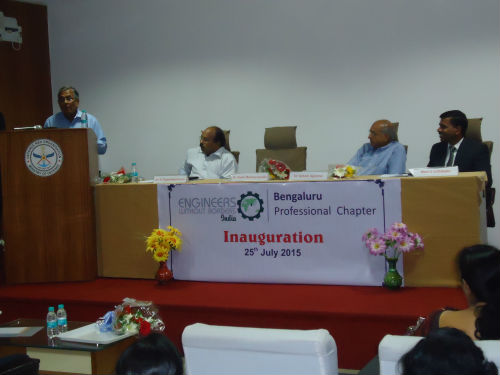 Chief guest Dr.Kota Harinarayana speaks as dignitaries look on